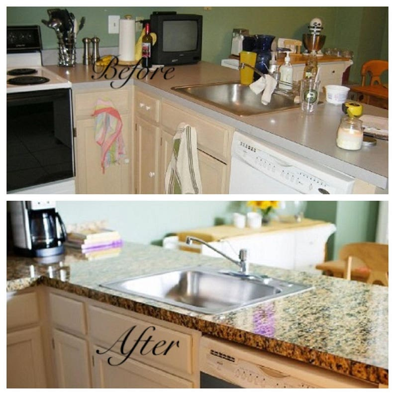 Waterproof Worktop Kitchen Stone Marble Contact Paper Home Decor Wall Sticker