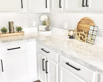 Ez Faux Decor Gray White Marble Granite Kitchen Countertop Update Vinyl Peel & Stick Cover Overlay Heat Resistant NOT Contact Paper or Paint