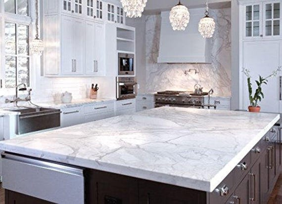Instant Peel And Stick Self Adhesive Countertop White Marble Waterproof Film For Kitchen Counters Backsplash Not Contact Paper Or Paint