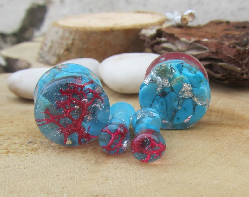 Pair Forest Moss Glass Essential Oil Ear Plugs Organic Handmade Ceramic double-flared body jewelry