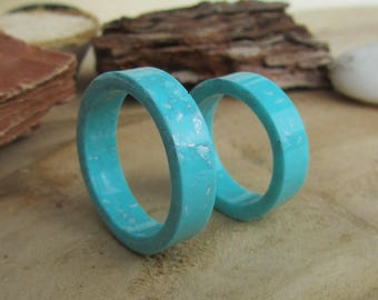 wedding bands, aquamarine wedding rings, mens rings, womens rings, his hers wedding bands, anniversary gift, resin ring, resin band, wedding