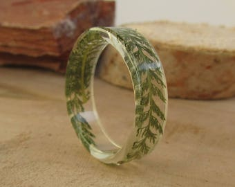 plant ring, mens ring, nature ring, large size ring, womens ring, botanical ring, green plant ring, plant, resin ring, clear resin jewelry