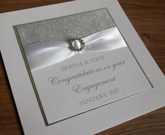 Hand-Made Personalised Engagement Date Card