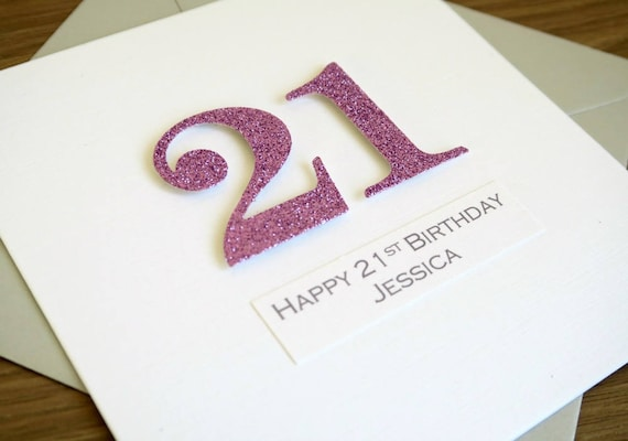 Handmade 21st Birthday Card Personalized Can Be Any Age Or