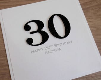 Handmade 30th birthday card, personalized, can be any age or colour 18th, 50th, 40th, 21st, 60th, 70th , 80th, 90th 100th