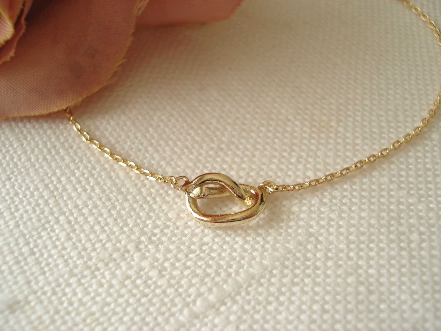 Tiny Gold Knot Necklace..simple Handmade Jewelry Everyday