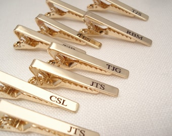 Personalized Tie Clip...Groomsmen's gift, Gold or Silver custom engraved Tie Bar, Father, Brother and Best mans gift, Wedding gift for him