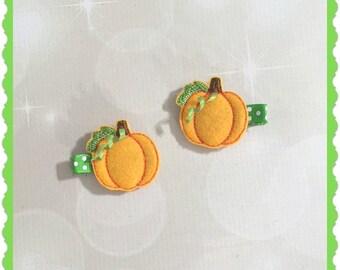 Pumpkin Hair Clips - Girls hair Accessories - Alligator Clips - Halloween Hair Clips - Pumpkin Hair Accessories - Birthday Party Favors