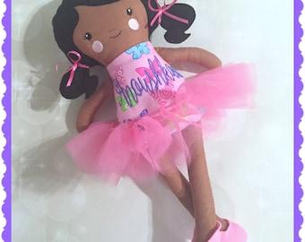 Baby Doll - Personalized Ballerina - Doll - Monogram Ballerina Doll - Baby Shower Gift - Birthday Gift - New Baby - Siblings Gift