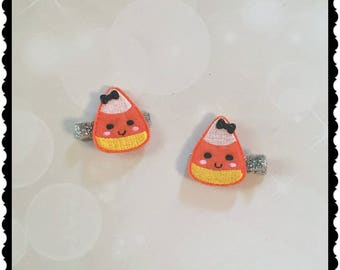 Candy Corn Hair Clips - Girls hair Accessories - Alligator Clips - Halloween Hair Clips - Candy Hair Accessories - Birthday Party Favors