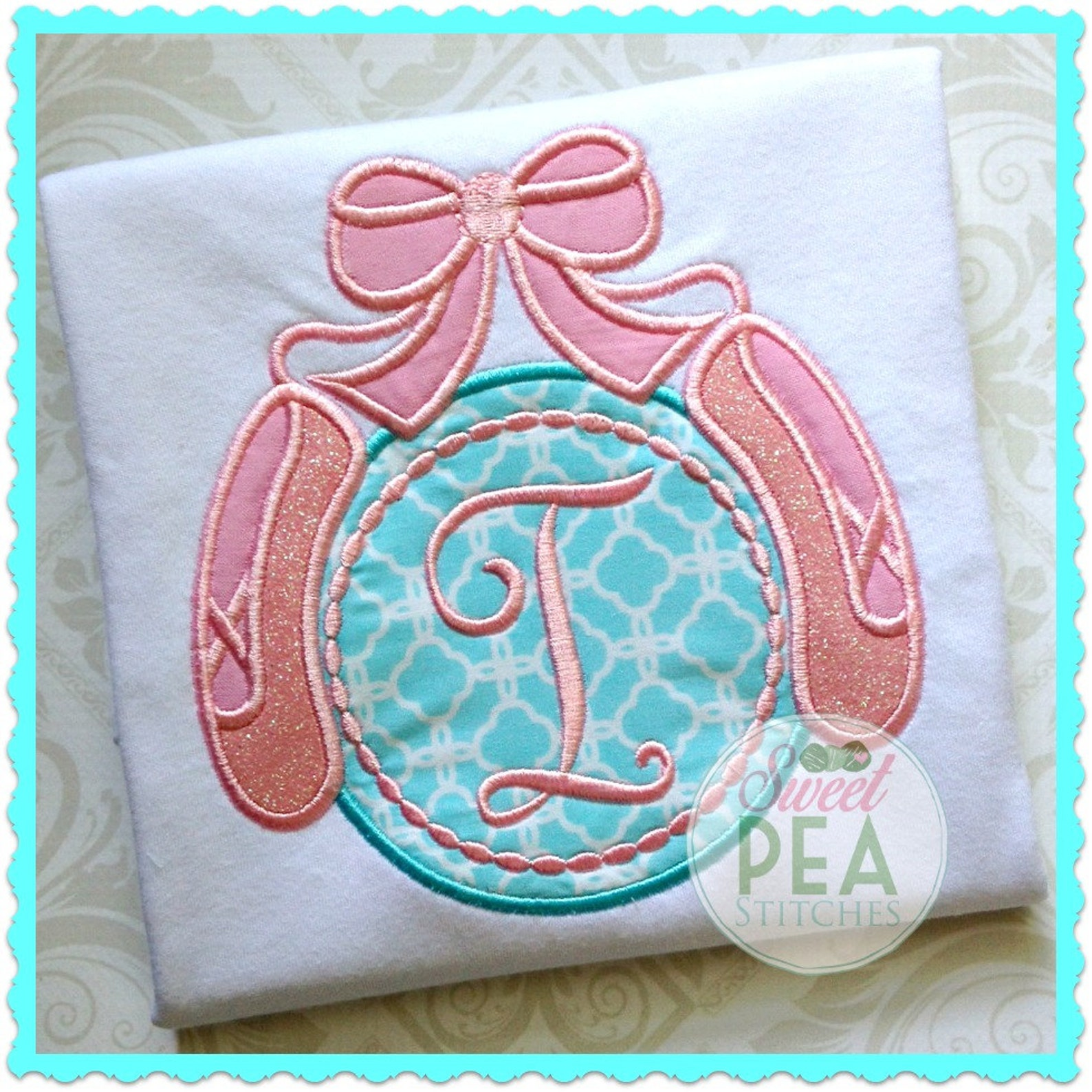 monogram ballet shirt - ballerina shirt - embroidered shirt - dance - girls - ballet shoes shirt - personalized applique shirt