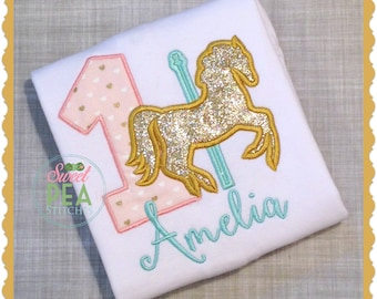 Personalized Carousel Birthday Shirt - Girls Birthday Shirt - Carousel Shirt -embroidered Shirt-Carnival party-Horse Birthday-Merry Go Round