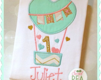 Girls First Birthday Shirt - Personalized Hot Air Balloon Shirt - Girls Birthday Shirt - 1st Birthday Shirt - embroidered Shirt - Balloon
