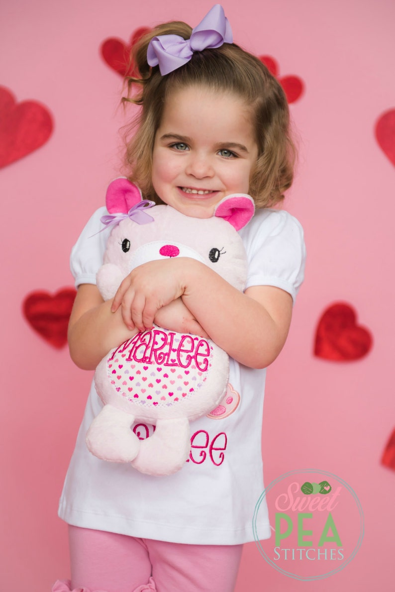 personalized plush bear embroidered teddy bear personalized stuffed animal valentines day gift Stuffed animal bear