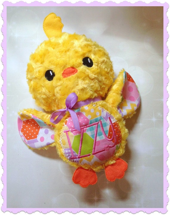 Stuffed Animal Chick Personalized Plush Chick Embroidered Etsy