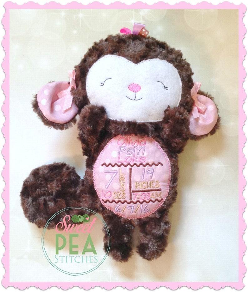 monkey stuffie Personalized Plush Monkey embroidered stuffed monkey stuffed animal monkey