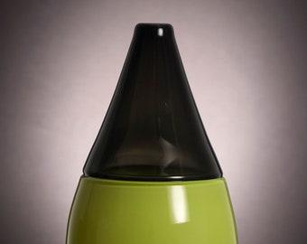Neon Green and Dark Gray Incalmo Vase, Hand Blown Decorative Glass Vase, Offhand Glass, Modern, Minimal, Classy