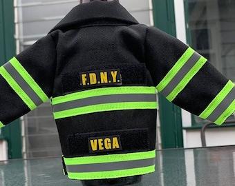 Firemen gift Miniature Jacket bottle insulator. Customize for your department!