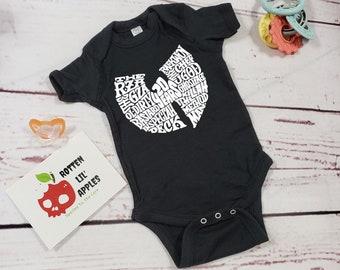 Black onesie|wutang onesie|toddler shirt|wutang|custom onesie|unisex baby clothes|black baby clothes|black toddler shirt|gothic baby clothes