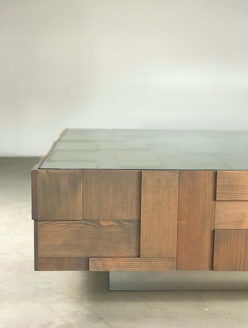 Custom Handmade Modern Traditional Reclaimed Wood + Glass Coffee Table