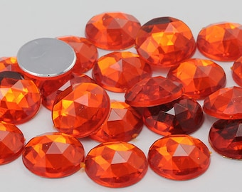 2 Vintage Czech Translucent Siam Red Round 11mm Faceted Crystal Chatons