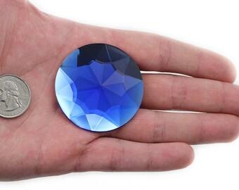 Destash Vintage Acrylic Royal Blue Round Faceted Flat-back Pendants