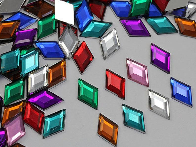 18x11mm Flat Back Diamond Acrylic Gems Pro Grade 35 Pieces Blue Aqua H122
