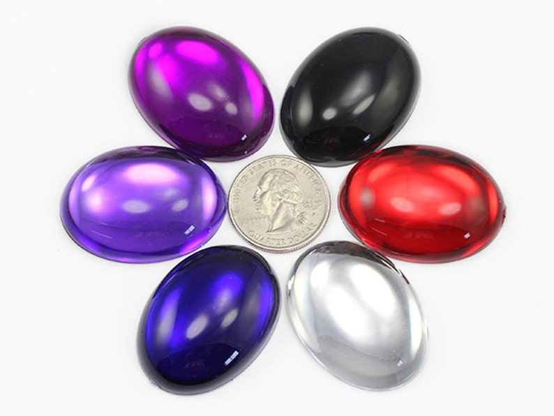 7 Colors Pearl H310 40x30mm 1 37//64 x 1 3//16 Large Oval Acrylic Cabochons 4 Pieces