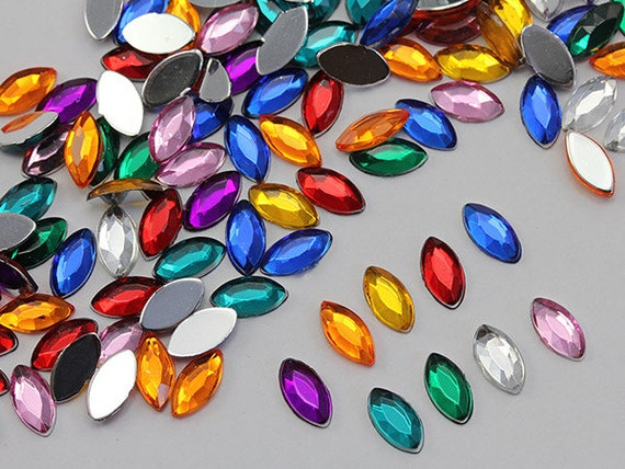 300 Pieces 8x6mm Assorted Colors Oval Jewels
