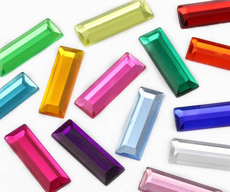 Flat Back Baguette Loose Acrylic Jewels High Quality Pro Grade 40 Pieces 22x7mm Crystal Clear AC