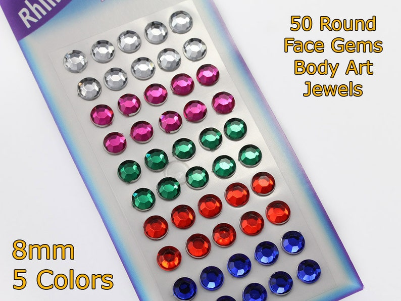 3fb2925a0b7f 50 Assorted Colors 8mm Round Stickers Face Gems Stick On Body