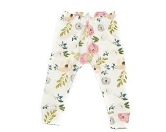d9c39c831b6c6 August Floral Baby Leggings, Floral Leggings, Newborn Leggings, Baby  Leggings, Going Home Pants, Pink Floral Leggings, Watercolor Leggings