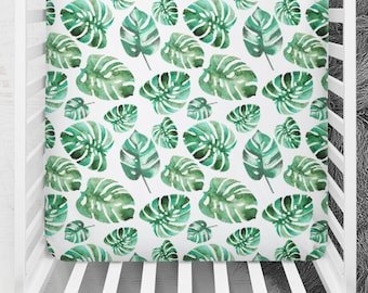Crib Sheet Tropical Leaves, Tropical Fitted Crib Sheet, Leaves Crib Sheet, Minky Baby Bedding, Fitted Crib Sheet, Tropical Crib Bedding
