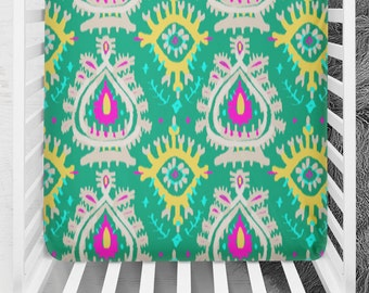 Emerald Ikat Crib Sheet, Ikat Fitted Crib Sheet, Cotton Crib Sheet, Modern Baby Bedding, Fitted Crib, Girl Fitted Sheet, Green Crib Sheet