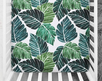 Crib Sheet Monstera Leaves, Tropical Fitted Crib Sheet, Leaves Crib Sheet, Minky Baby Bedding, Fitted Crib Sheet, Leaves Crib Bedding