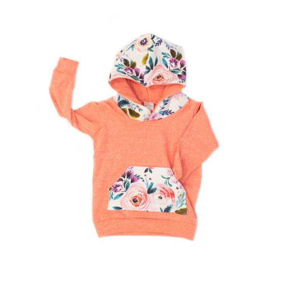 8f3fef4bb44f Victoria Floral Hoodie Coral Pink French Terry Hoodie Baby