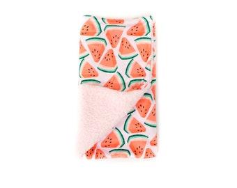 READY TO SHIP Watermelon Blanket, Minky Baby Blanket, Pink Watermelon Baby Blanket, Plush Baby Blanket, Summer Fruit Blanket, Lovey Blanket