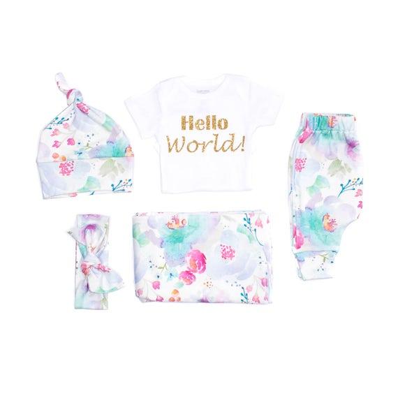 Aqua Watercolor Floral Organic Newborn Layette Girl Take Home | Etsy