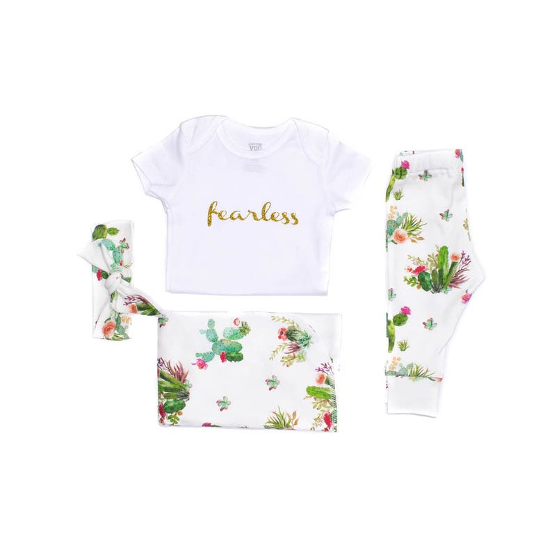 Desert Newborn Organic Outfit Girl Take Home Outft Western Cactus Swaddler Floral Cactus Organic Newborn Layette Cactus Floral Baby Set