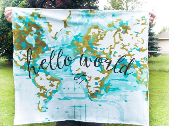 Hello world baby blanket nautical map blanket minky hello etsy image 0 gumiabroncs Images