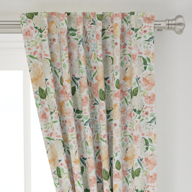 Girl Nursery Curtains Floral Curtains Peach Pink Coral Floral Curtains CUSTOM Spoonflower Cotton Twill Curtain Panel Set Girl Curtain Setof2