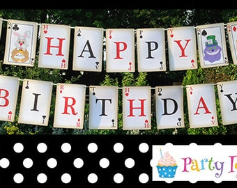 Mad Hatters Tea Party Happy Birthday Bunting