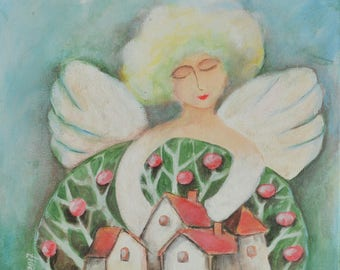 Guardian angel - original acrylic painting on canvas