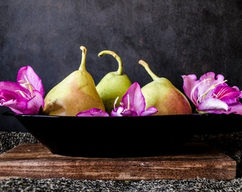Still life with pears and Bauhinia flowers. Photo Instant Download.  Still Life Photography.  Digital photo.
