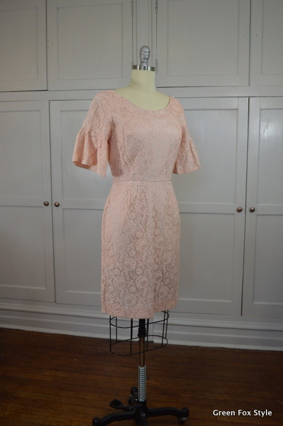 Peach Lace Kerrybrooke Wiggle with Short Bell Slee