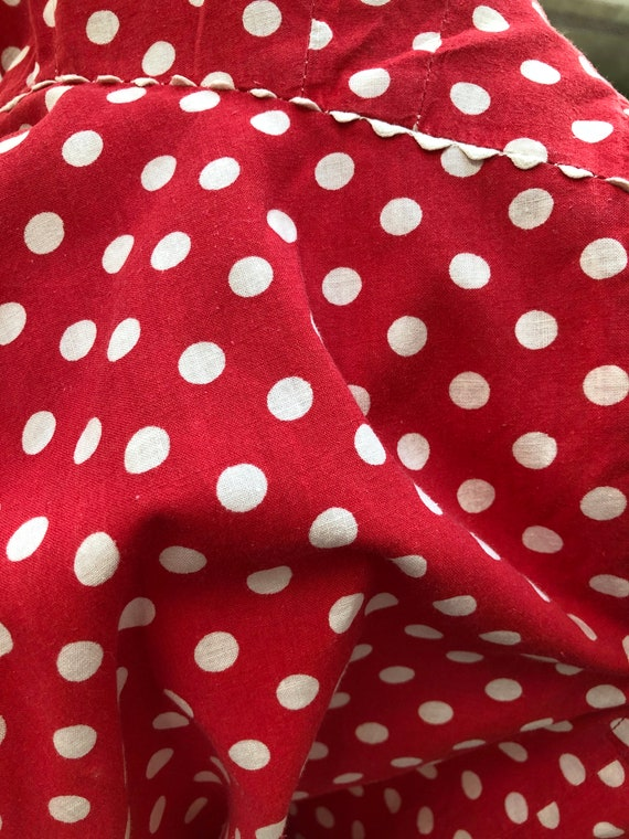 Red and White Polka Dot 1930's Vintage Dress - image 10