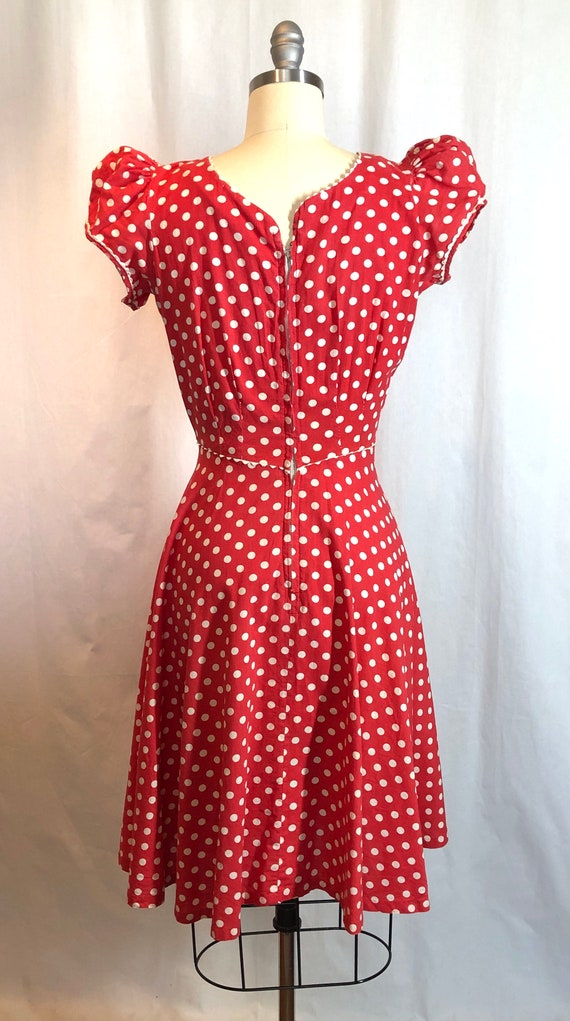 Red and White Polka Dot 1930's Vintage Dress - image 9
