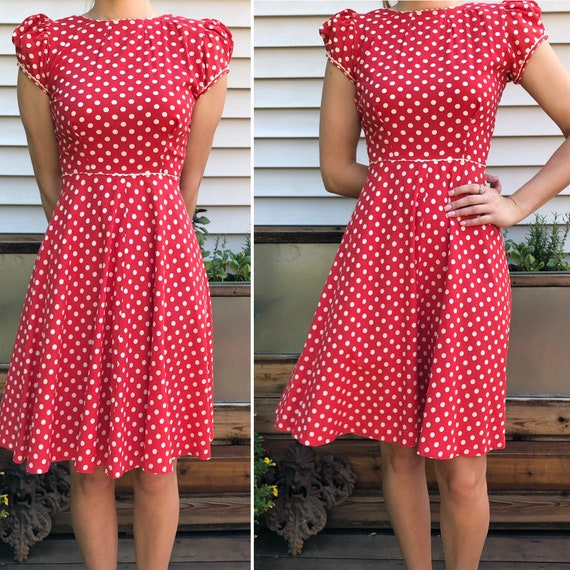 Red and White Polka Dot 1930's Vintage Dress - image 2