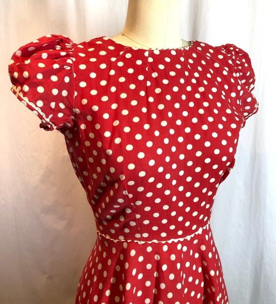 Red and White Polka Dot 1930's Vintage Dress - image 6