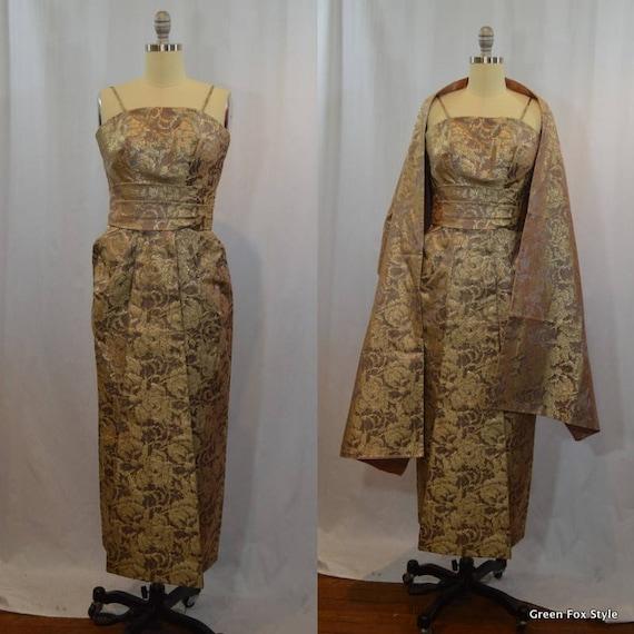 Emma Domb Metallic Brocade Gown with Shawl